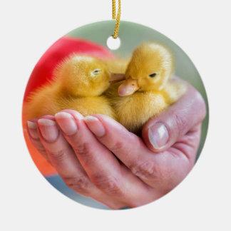 Zwei neugeborene gelbe Entlein, die an Hand sitzen Rundes Keramik Ornament