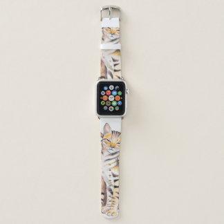 Zwei niedliche bengalische KatzenWatercolorkunst Apple Watch Armband