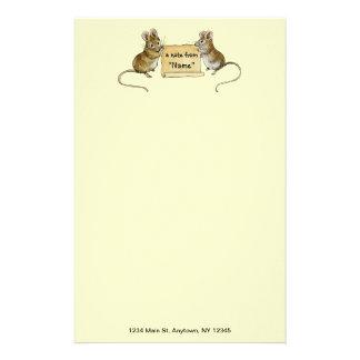 Zwei niedliche Mäuse mit Pergament-Rolle - mit Adr Bedrucktes Büropapier