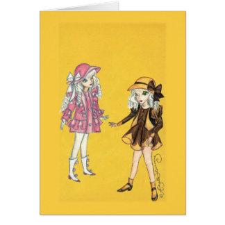 Zwei niedliche Modemädchen mit Hüten Karte