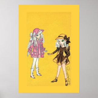 Zwei niedliche Modemädchen mit Hüten Posterdrucke