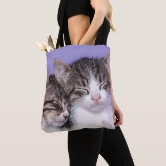 Zwei niedliche Nickerchen machende Kätzchen Tasche