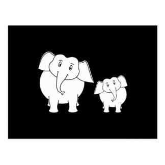 Zwei niedliche weiße Elefanten auf Schwarzem. Kari Postkarten