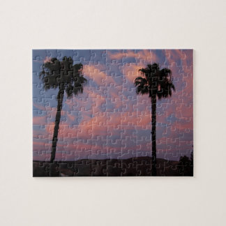 Zwei Palmen am Sonnenuntergang Puzzle