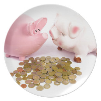 Zwei piggy Banken mit Euromünzen auf Weiß Teller