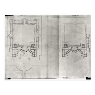 Zwei Pläne für das erste Projekt für das Louvre Postkarte