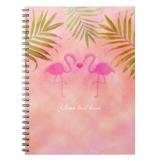 Zwei rosa Flamingo-tropisches Strand-Notizbuch Notizblock