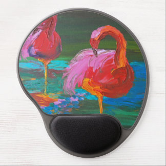 Zwei rosa Flamingos auf grünem See Gel Mousepad