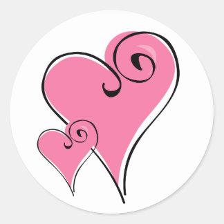 Zwei rosa Herz-Aufkleber
