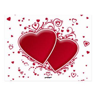 Zwei rote Herzen Postkarte