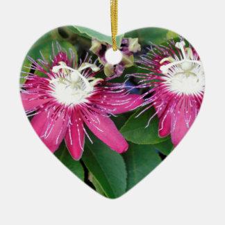 Zwei rote Leidenschafts-Blumen-Nahaufnahme draußen Keramik Herz-Ornament