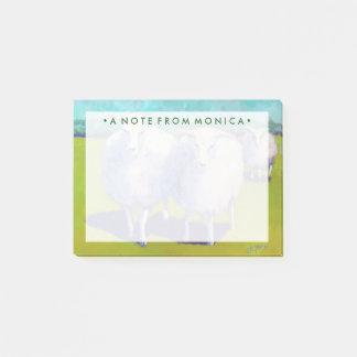 Zwei Schafe auf dem Gebiet Post-it Klebezettel