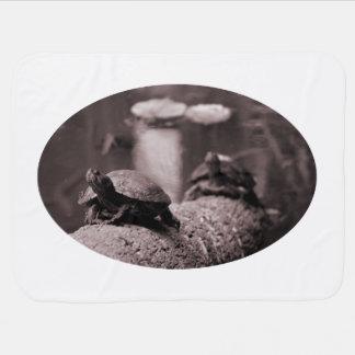 zwei Schildkröten auf Palmenstamm Sepia Kinderwagendecke