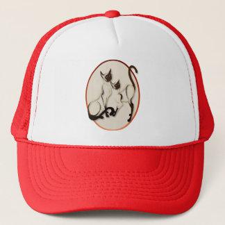 Zwei siamesische Katzen-Oval-Hüte Truckerkappe