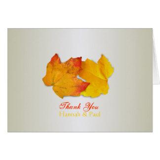 Zwei silbernes Blätter dankt Ihnen Karte