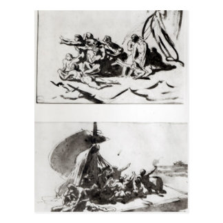 Zwei Skizzen für das Floss der Medusa, c.1819 Postkarte