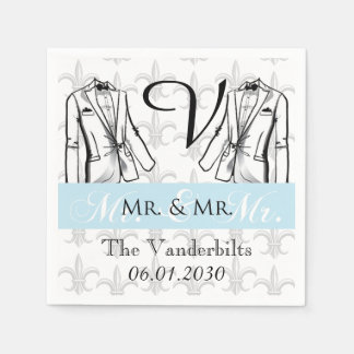 Zwei Smokings-Bräutigam-homosexuelle Papierserviette