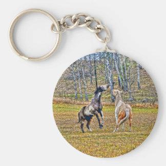 Zwei spielerische Pinto-Farben-Pferdepferdeartiger Schlüsselanhänger