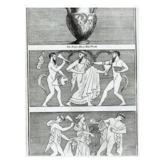 Zwei Szenen von einem Etruscan Vase Postkarte