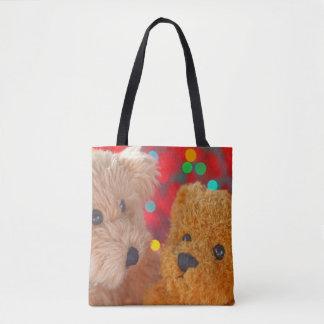 Zwei Teddybären mit Weihnachtslichtern Tasche