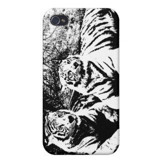 Zwei Tiger in Schwarzweiss iPhone 4 Etui