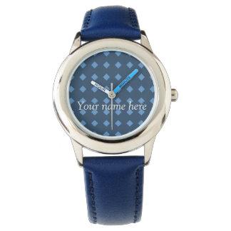 Zwei Ton-Blau/Turquois geometrische Muster-Uhr Armbanduhr