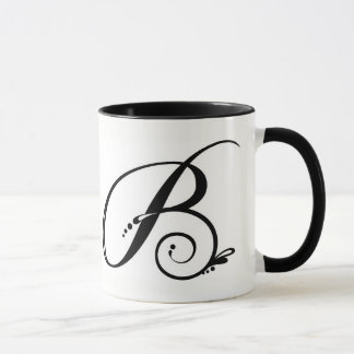 Zwei Ton-Kaffee-Tasse mit Initiale Tasse