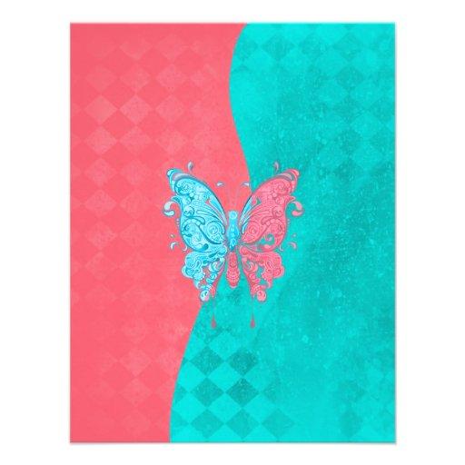 Zwei Ton-Schmetterlings-Rosa und aquamarines Personalisierte Ankündigungskarte