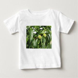 Zwei unausgereifte grüne Pfirsiche, die an einem Baby T-shirt