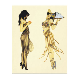 Zwei Vintage Retro Damen-Kunst Nouveau Art Leinwanddruck