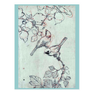 Zwei Vögel gehockt auf Weinstöcken Ukiyoe Postkarte