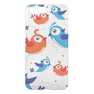 Zwei Vogel-Liebhaber orange und blaues Muster iPhone 8 Plus/7 Plus Hülle