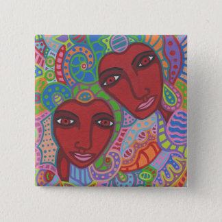 Zwei von Herzen Quadratischer Button 5,1 Cm