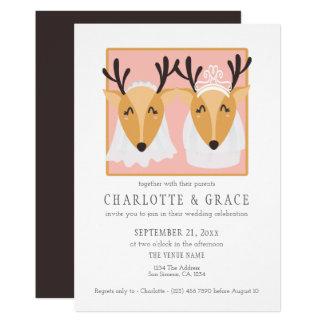 Zwei weibliche Rotwild-Braut-homosexuelle Karte