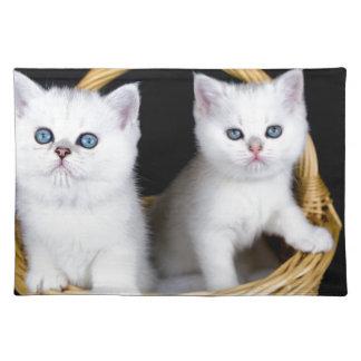 Zwei weiße Kätzchen im Korb auf schwarzem Stofftischset