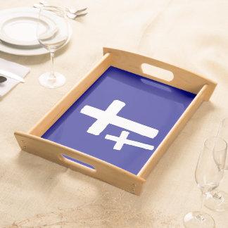 Zwei weiße Quersymbole auf Blau Serviertablett