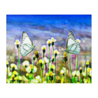 Zwei weiße Schmetterlinge in einer gelben Acryl Wandkunst