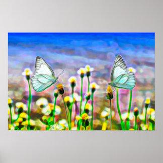 Zwei weiße Schmetterlinge in einer gelben Poster