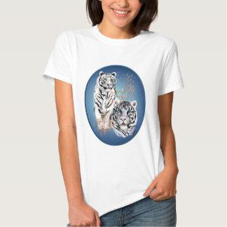 Zwei weißes Tiger-Oval-Shirt Shirt