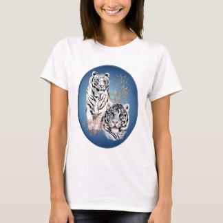 Zwei weißes Tiger-Oval-Shirt T-Shirt