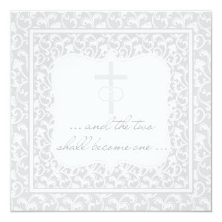 Zwei werden ein christliches Hochzeits-Silber Karte