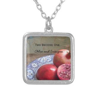 Zwei werden eine personalisierte Hochzeit Halskette Mit Quadratischem Anhänger