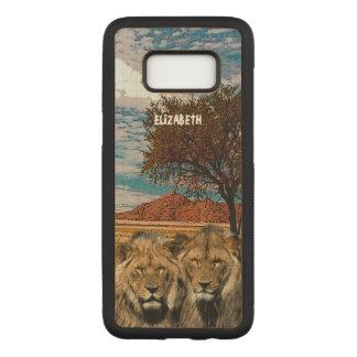 Zwei wilde Löwen auf afrikanischem Carved Samsung Galaxy S8 Hülle