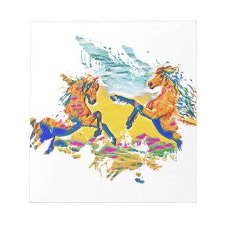 Zwei wilde Pferde in den Winden Notizblock