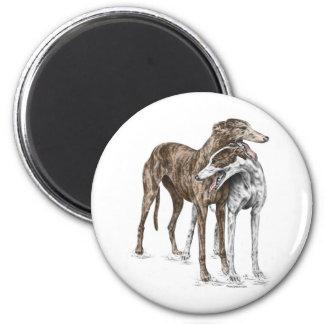 Zwei Windhund-Freund-Hundekunst Runder Magnet 5,7 Cm