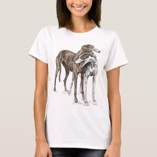 Zwei Windhund-Freund-Hundekunst T-Shirt