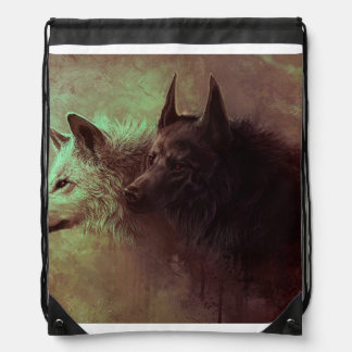 zwei Wölfe - Malereiwolf Sportbeutel