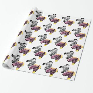 Zwei Zebras - Schwarzweiss-- und rosa Geschenkpapier