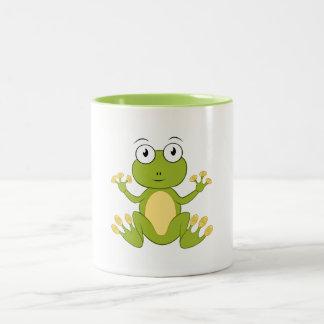 Zweifärbige Tasse mit Froschmotiv