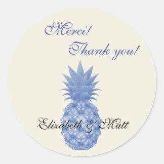 Zweisprachige Ananas-Hochzeit danken Ihnen Runder Aufkleber